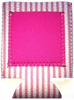 pocket can bottle koozie seersucker pink. Black Bedroom Furniture Sets. Home Design Ideas
